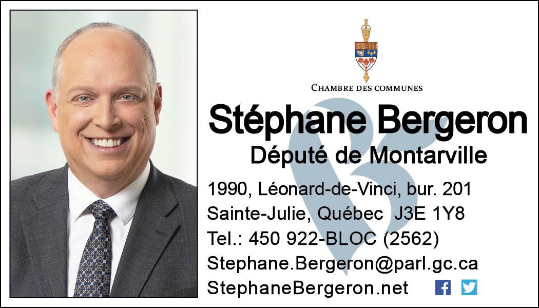 Carte d'affaires Stéphane Bergeron